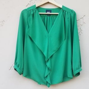 Maeve Anthropologie Green Ruffle Blouse Top Size 4